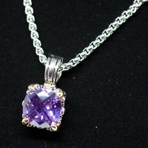"18k 2 Tone Gold Dipped ""Purple Soul"" Necklace"